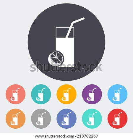 Fruit juice. Single flat icon on the circle. Vector illustration. - stock vector
