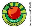 Fruit label, apple, vector illustration - stock vector