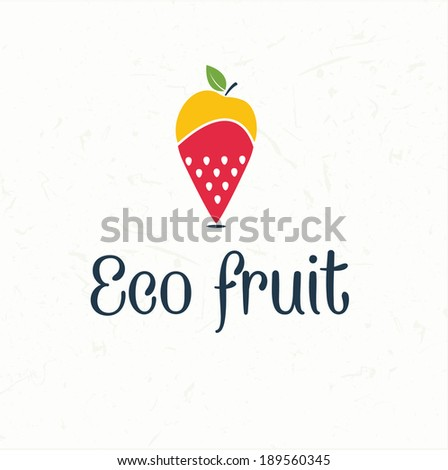 fruit map pin icon -eco fruit - stock vector