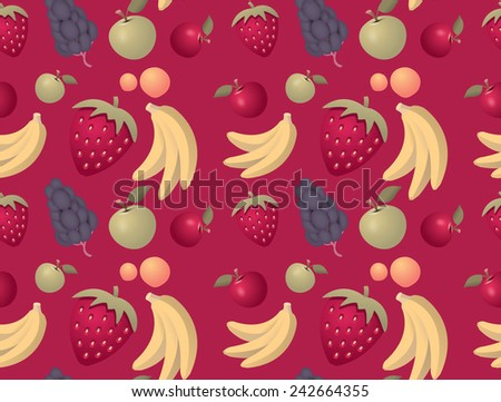 Fruit mix seamless pattern background - vector - stock vector