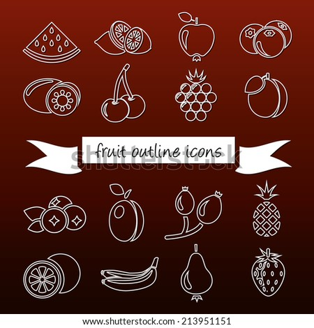 fruit outline icons - stock vector