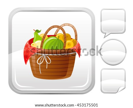 Fruit picnic basket vector icon with watermelon, pear, apple. Season concept - gardening, autumn farming harvest. Blank button forms set - square, speaking bubble, circle, sticker