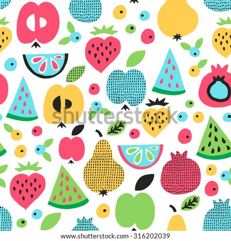 Fruit seamless pattern. Surface decoration with apple, pear, watermelon, lemon, strawberry and berry. Vector illustration. - stock vector