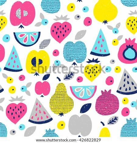 Fruit seamless pattern. Surface kid decoration with apple, pear, watermelon, lemon, strawberry and berry. Vector illustration.
