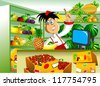 Fruit seller advertises in his store (vector); - stock vector