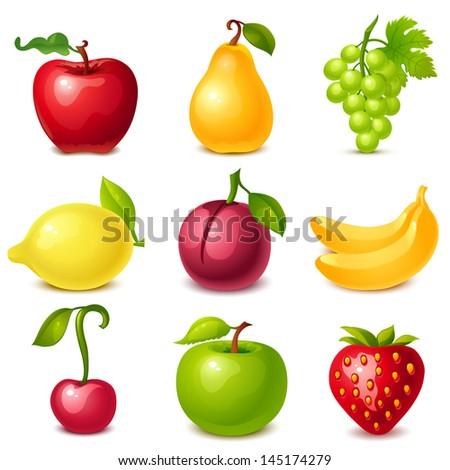 fruit set - stock vector