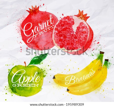 Fruit set drawn watercolor blots and stains with a spray banana, pomegranate, apple green - stock vector
