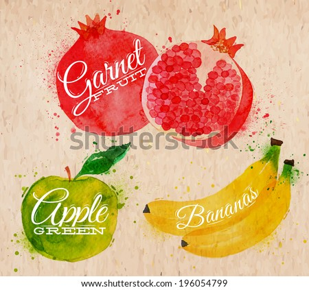 Fruit set drawn watercolor blots and stains with a spray banana, pomegranate, apple green in kraft - stock vector