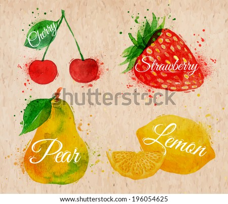 Fruit set drawn watercolor blots and stains with a spray cherry, lemon, strawberry, pear in kraft - stock vector