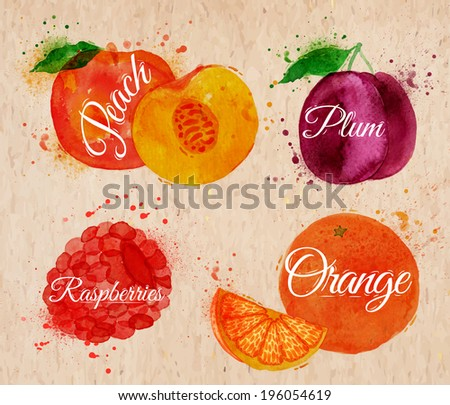 Fruit set drawn watercolor blots and stains with a spray peach, raspberry, plum, orange in kraft - stock vector