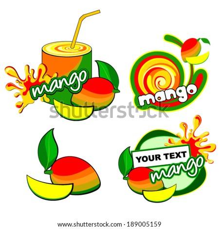 Fruit set for label. Vector mango. - stock vector