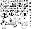 Fruit set of black sketch. Part 102-4. Isolated groups and layers. - stock vector