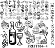 Fruit set of black sketch. Part 104-4. Isolated groups and layers. - stock vector