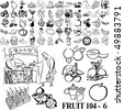 Fruit set of black sketch. Part 104-6. Isolated groups and layers. - stock vector