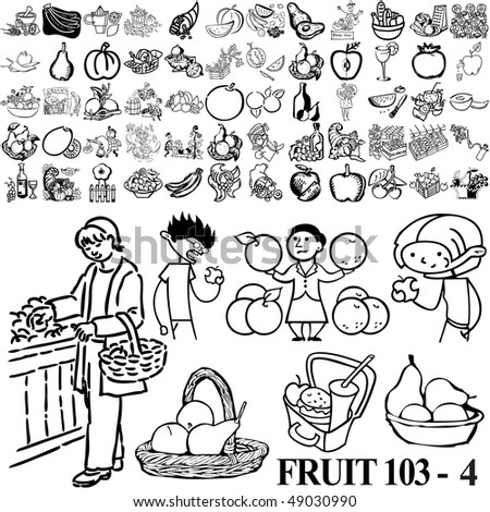 Fruit set of black sketch. Part 103-4. Isolated groups and layers. - stock vector