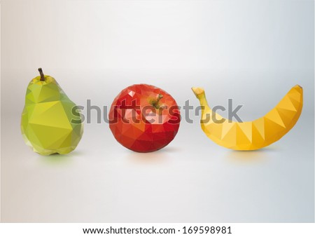 Fruit Set: pear, apple, banana. Low-poly triangular style illustration - stock vector