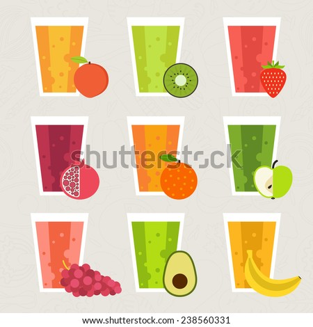 Fruit smoothie collection. Menu element for cafe or restaurant with energetic fresh drink made in flat style. Fresh juice for healthy life. Organic raw shakes.  - stock vector