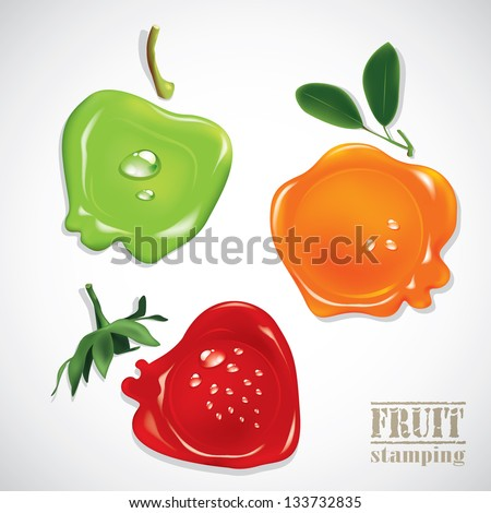 fruit stamping. - stock vector