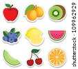 Fruit Stickers, polka dot design: apple, apricots, kiwi, blueberry, lemon, watermelon, melon, cherry, orange isolated on white. EPS8 compatible. - stock vector
