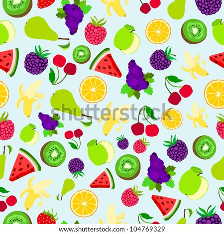 Fruit vector background package design texture bright colorful pattern
