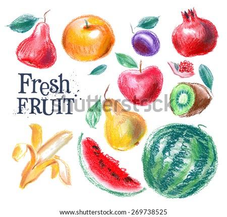 fruit vector logo design template. fresh food or gardening, harvest icon. - stock vector