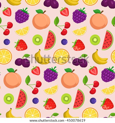 Fruits and berries background. Seamless pattern of bright colored fruits. Vector illustration.