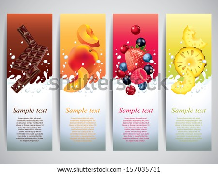 Fruits and berries in milk splashes vector banners - stock vector