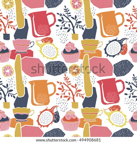 Fruits and cups, seamless pattern.