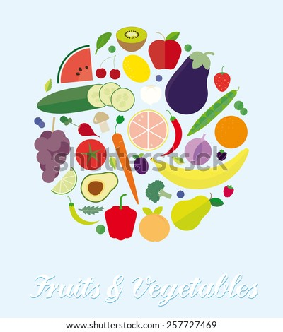 Fruits and Vegetables Assortment Simple Flat Vector Illustration. Simple Illustration of various fruits and vegetables arranged in a circle. Flat design, no gradients or transparencies. - stock vector