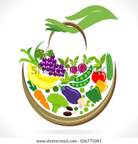 Fruits and Vegetables Basket in Hand - stock vector