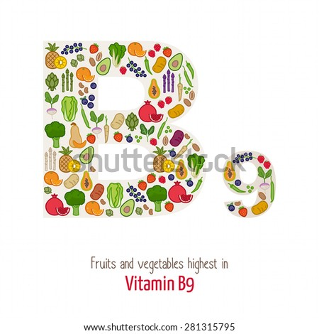 Fruits and vegetables highest in vitamin B9 composing B9 letter shape, nutrition and healthy eating concept - stock vector