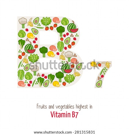 Fruits and vegetables highest in vitamin B7 composing B7 letter shape, nutrition and healthy eating concept - stock vector