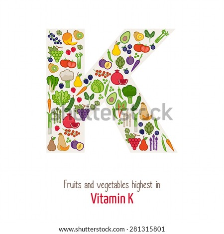 Fruits and vegetables highest in vitamin K composing K letter shape, nutrition and healthy eating concept - stock vector