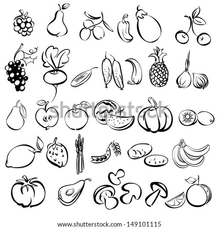 fruits and vegetables icon set sketch vector illustration - stock vector