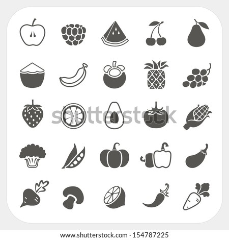Fruits and Vegetables Icons with frame background - stock vector
