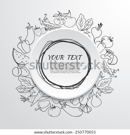 fruits and vegetables label over white background vector illustration - stock vector