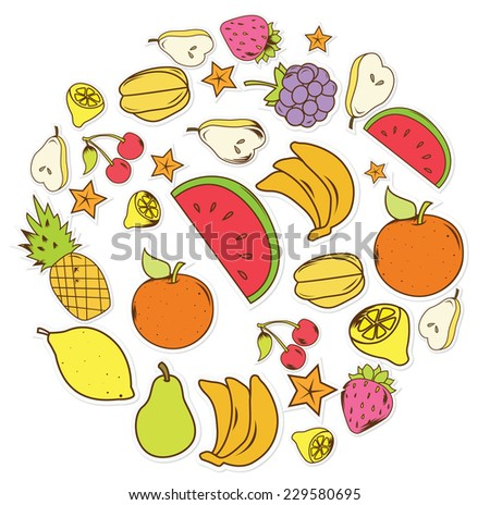 fruits and vegetables Object - stock vector