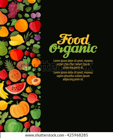 fruits and vegetables. organic food vector illustration - stock vector