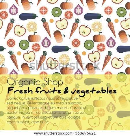 Fruits and Vegetables pattern vector illustration. Logo concept. Ideal in food markets, restaurant industry - stock vector