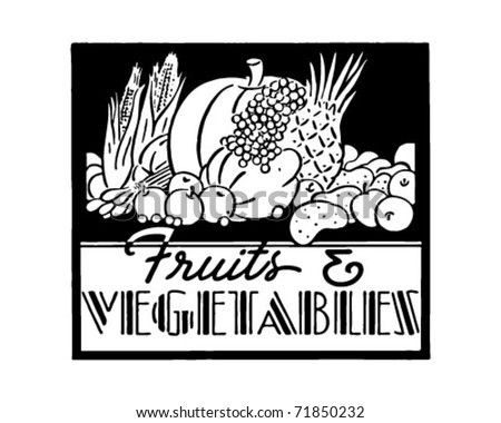 Fruits And Vegetables 2 - Retro Ad Art Banner - stock vector