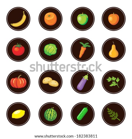 Fruits and vegetables. Set of icons. vector - stock vector