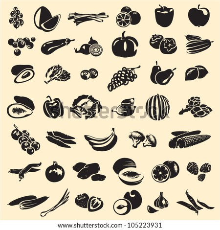 Fruits and vegetables vector collection. Fruits set. Vegetables set. - stock vector