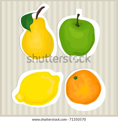 Fruits: apple, lemon, orange, pear - stock vector