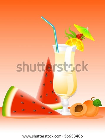 fruits cocktail with fruits - stock vector