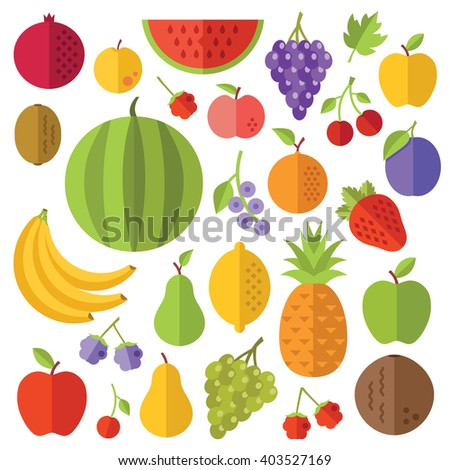 Fruits flat icons set. Creative colorful flat design illustrations and concepts for web banners, printed materials, web sites, infographics