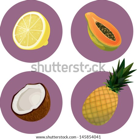 Fruits icon set 3 of 4 - stock vector