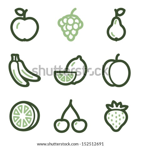 Fruits icons, green line contour series