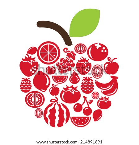Fruits Icons in apple shape - stock vector