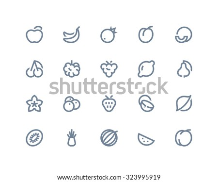 Fruits icons. Line series - stock vector