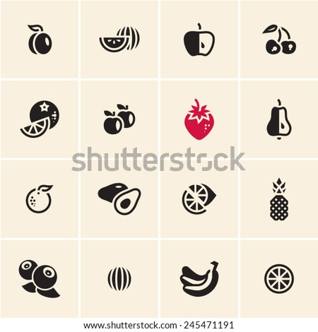Fruits icons set. - stock vector